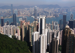 china hong kong peak skyline panorama